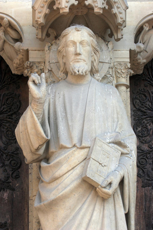 Notre Dame Cathedral, Paris Kristusundervisning arkivfoto