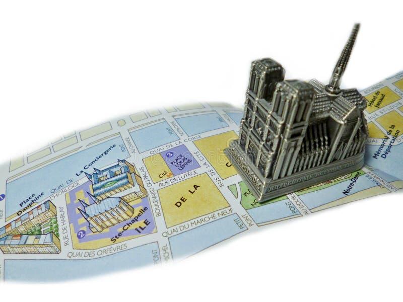 Cathédrale Notre-Dame de Paris Map royalty free stock photography
