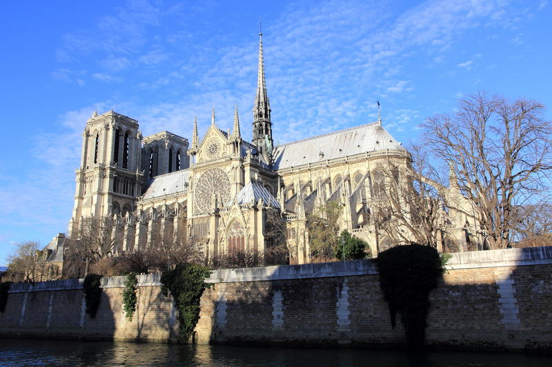 Notre-Dame Cathedral of Paris. The Seine and the Notre-Dame cathedral of Paris stock photography