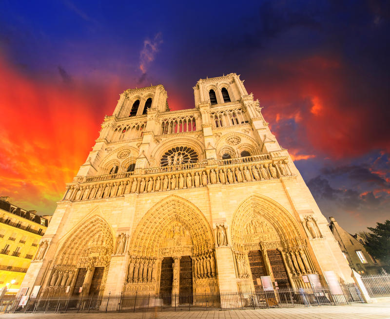 Notre Dame Cathedral - Paris. Wonderful winter sky.  royalty free stock images