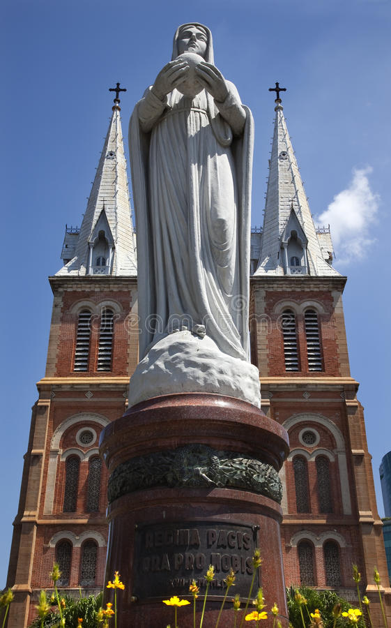 Notre Dame Catherdral Vigin Mary Statue Saigon stock images