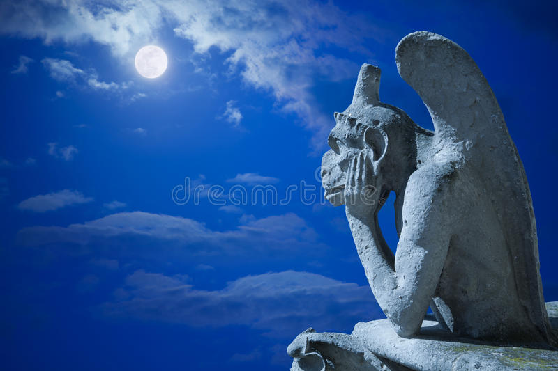 Notre Dame Chimere at night royalty free stock images