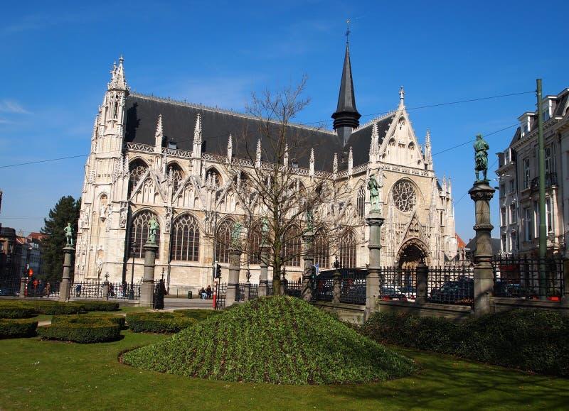 Eglise Notre-Dame du Sablon. Notre-Dame Church in Brussels (Belgium stock photography