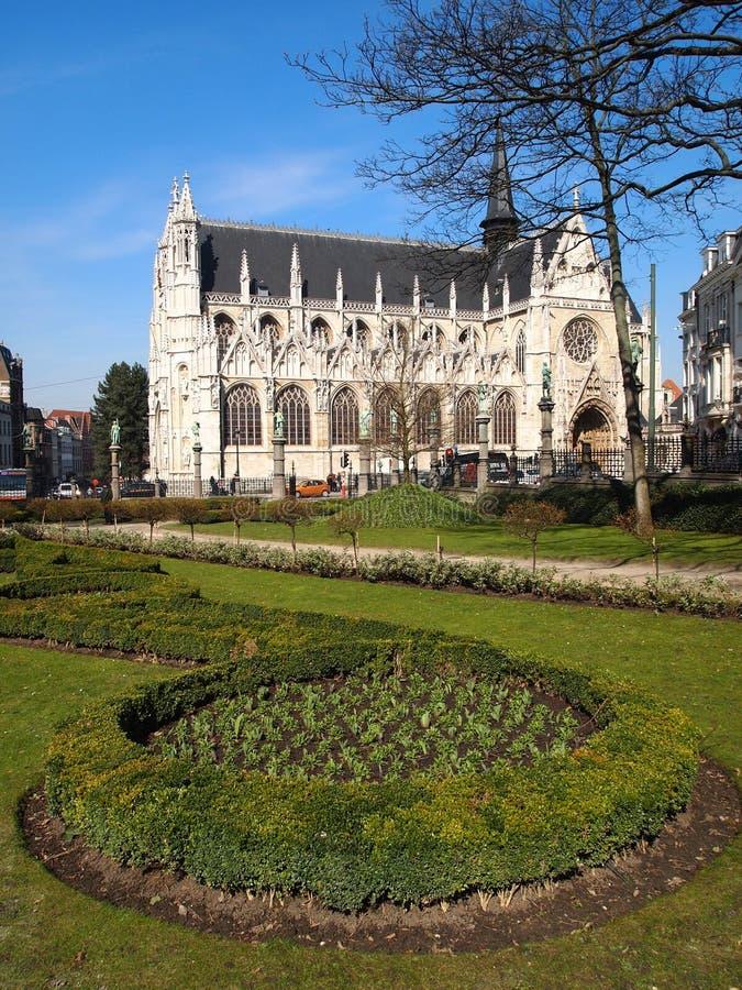 Eglise Notre-Dame du Sablon. Notre-Dame Church in Brussels (Belgium stock images