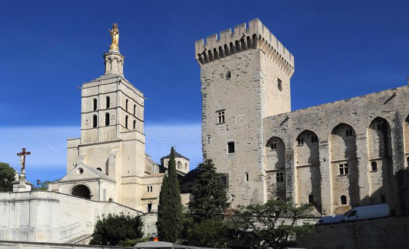 Pope`s palace in Avignon, France royalty free stock photos