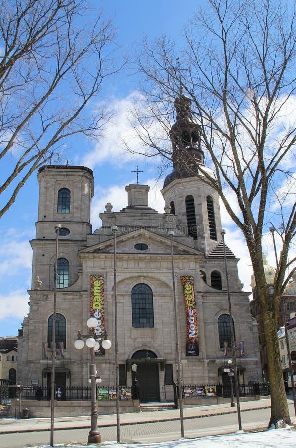 Notre Dame de魁北克大教堂大教堂在老魁北克市 免版税库存图片