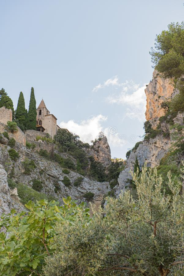 The Notre Dame de Beauvoir chapel in Moustiers Sainte Marie, in the French Provence on the edge of the Alps stock photography
