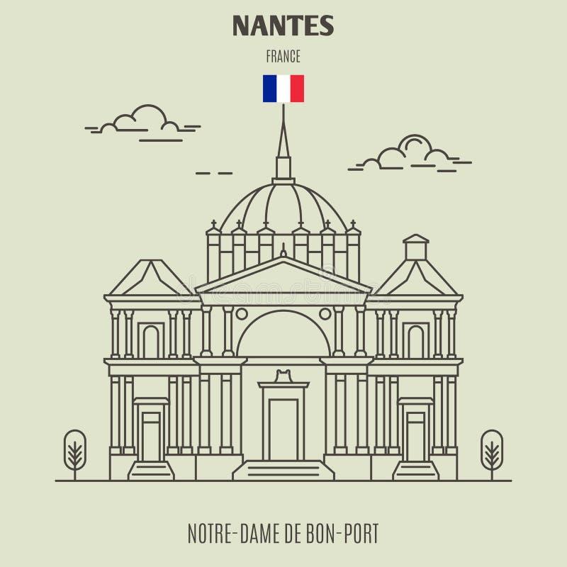 Notre-Dame de Bon-Porto em Nantes, França Ícone do marco ilustração royalty free