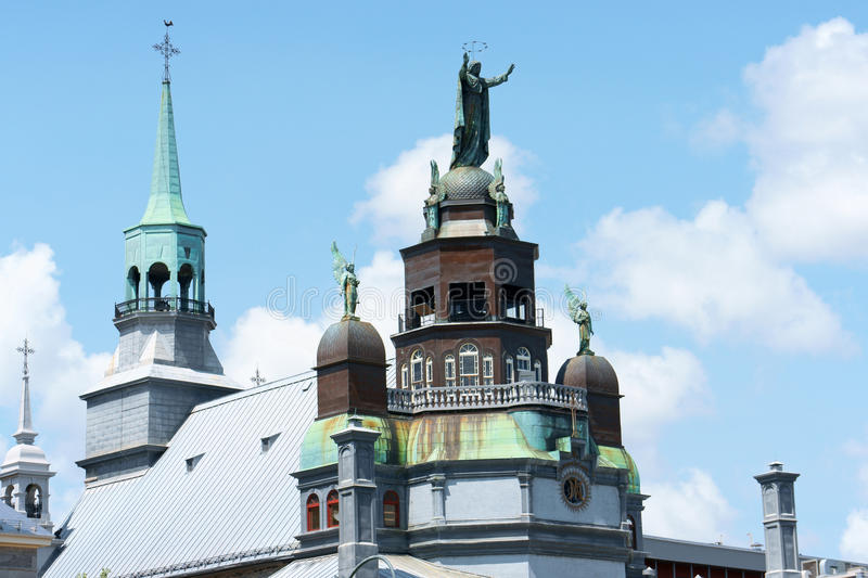 Notre Dame de Bonsecours Chapel in Montreal, Canada. Rear view of Notre Dame de Bonsecours Chapel (Our Lady of Good Help) in Montreal, Quebec, Canada stock images