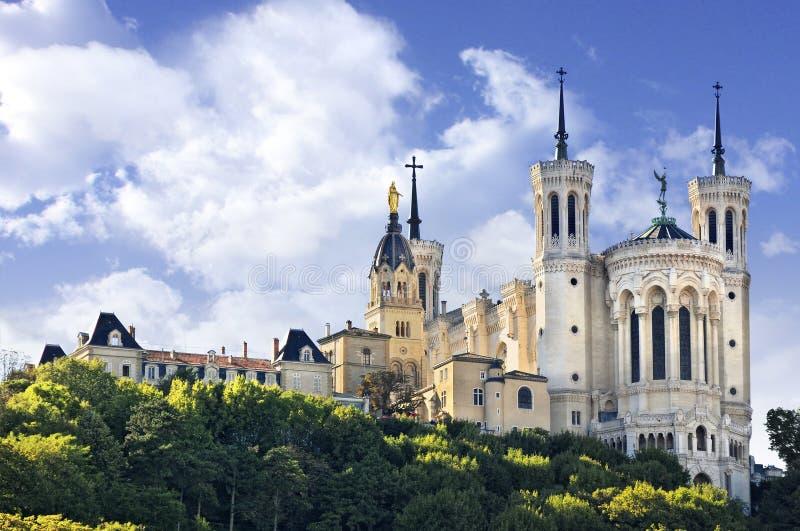 Notre Dame de Fourviere,利昂,法国大教堂  免版税库存图片