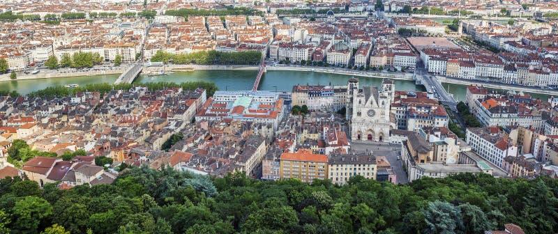 从Notre Dame de Fourviere Basilica的顶端全景 库存照片