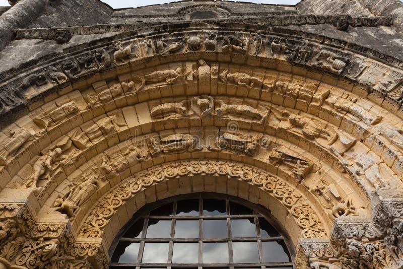 Notre Dame de l'Assomption de西部门面穹窿形细节  库存照片