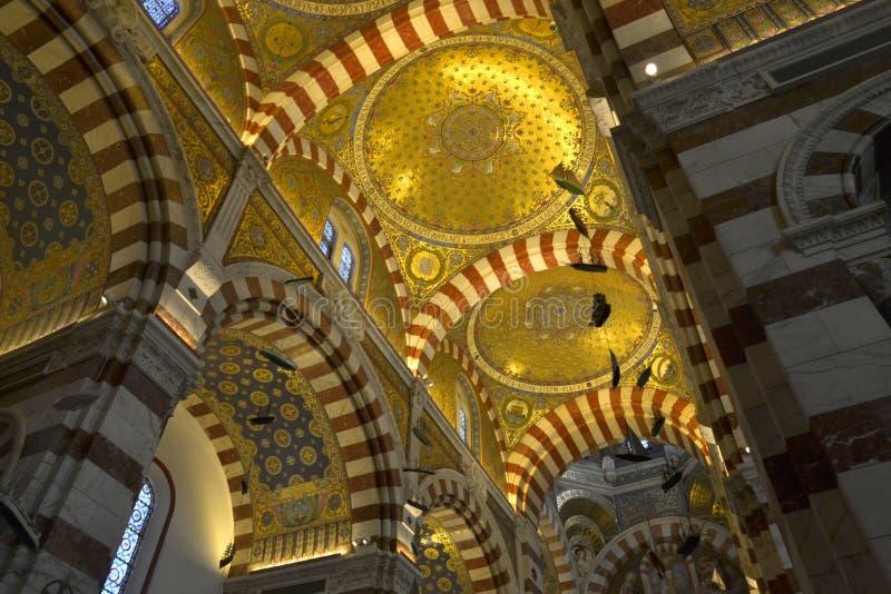 Notre Dame De La加尔德角大教堂,马赛,法国 库存图片