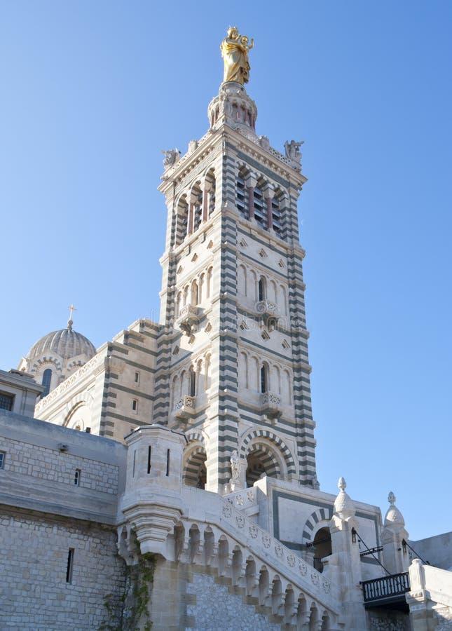 Notre Dame de la加尔德角,马赛钟楼  图库摄影