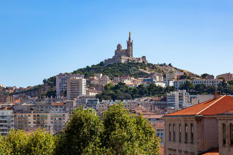Notre Dame De La Garde cathedral church in Marseille - France royalty free stock photography
