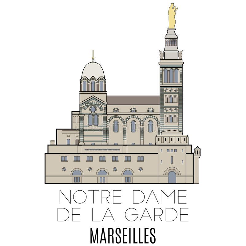 Notre Dame De La Garde, Marseille illustration de vecteur