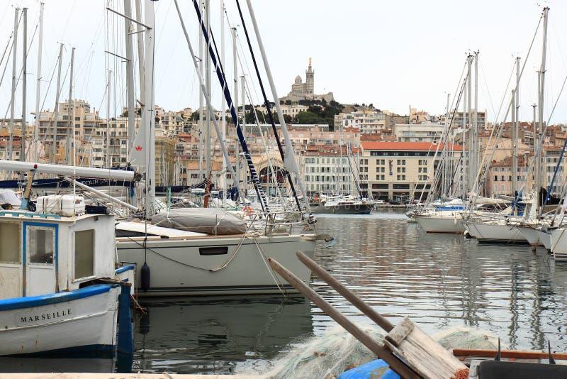 Notre Dame de la Garde and old Marseille port, France royalty free stock photo