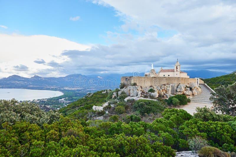 Notre Dame de la Serra dichtbij Calvi, Corsica stock afbeelding