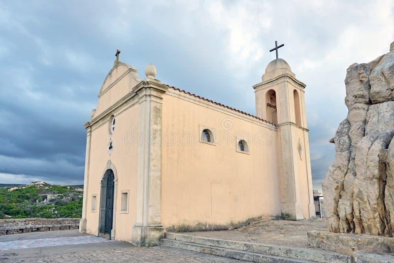 Notre Dame de la Serra dichtbij Calvi, Corsica stock foto