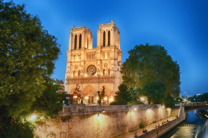Notre Dame de Paris alla sera fotografia stock libera da diritti
