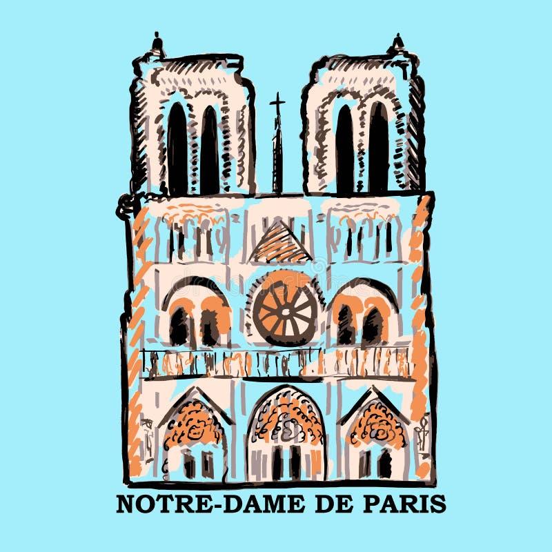 Notre-Dame de Paris architektoniczny nakreślenie z teksta imieniem Piękna sławna katolicka katedra ilustracji