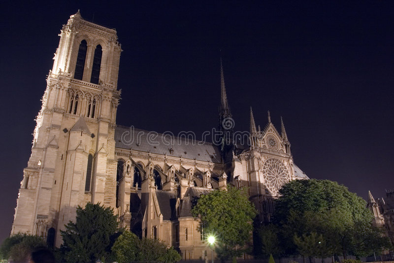 Notre-Dame de Paris belichtet. Paris. Frankreich lizenzfreies stockfoto