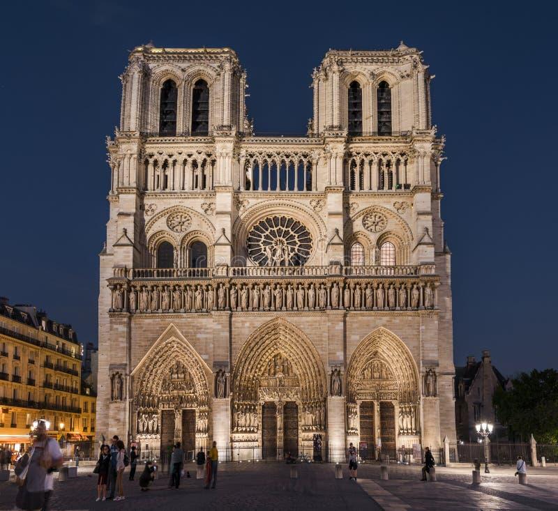 Notre-Dame de Paris bij nacht stock foto's