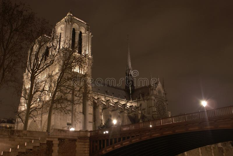 Notre Dame de Paris, bij nacht, met kleine brug. stock afbeelding