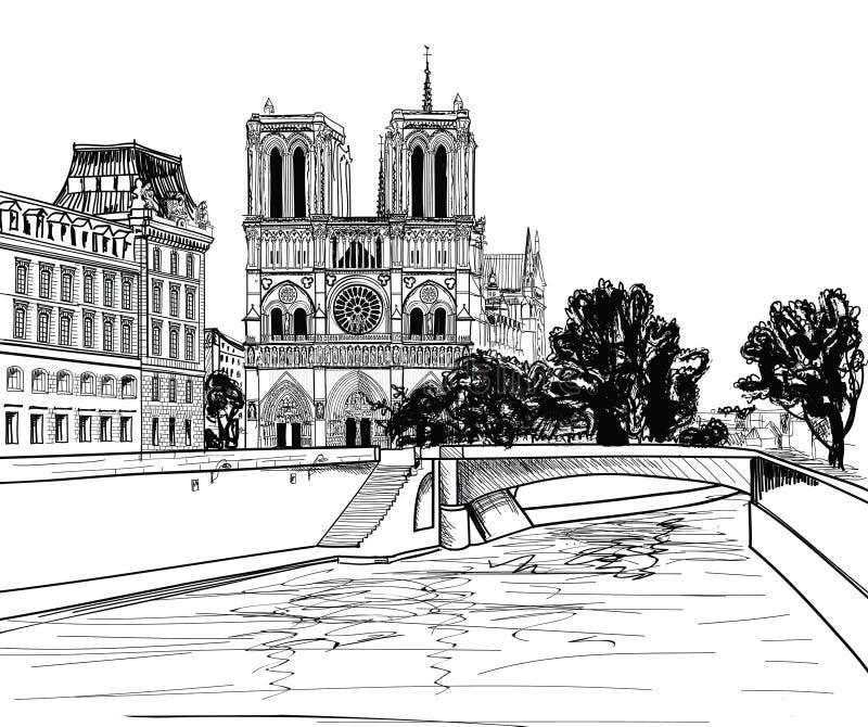 Notre Dame de Paris Cathedral. Altmodischer Hintergrund des Stadtbilds mit der Seine, Brücke. Paris, Ile de la Cite. stock abbildung