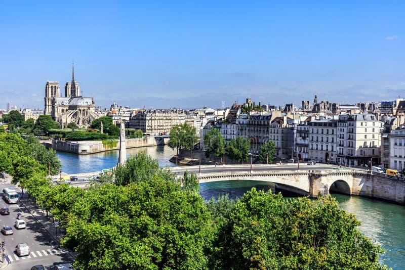 Notre Dame de Paris Cathedral auf der Zitierungs-Insel Paris, Frankreich lizenzfreie stockbilder
