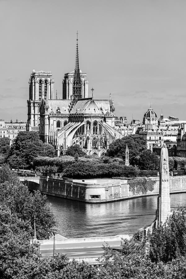 Notre Dame de Paris Cathedral auf der Zitierungs-Insel Paris, Frankreich stockbilder