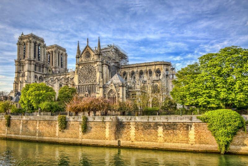 Notre Dame de Paris Cathedral After The brand på 15 April 2019 royaltyfri foto