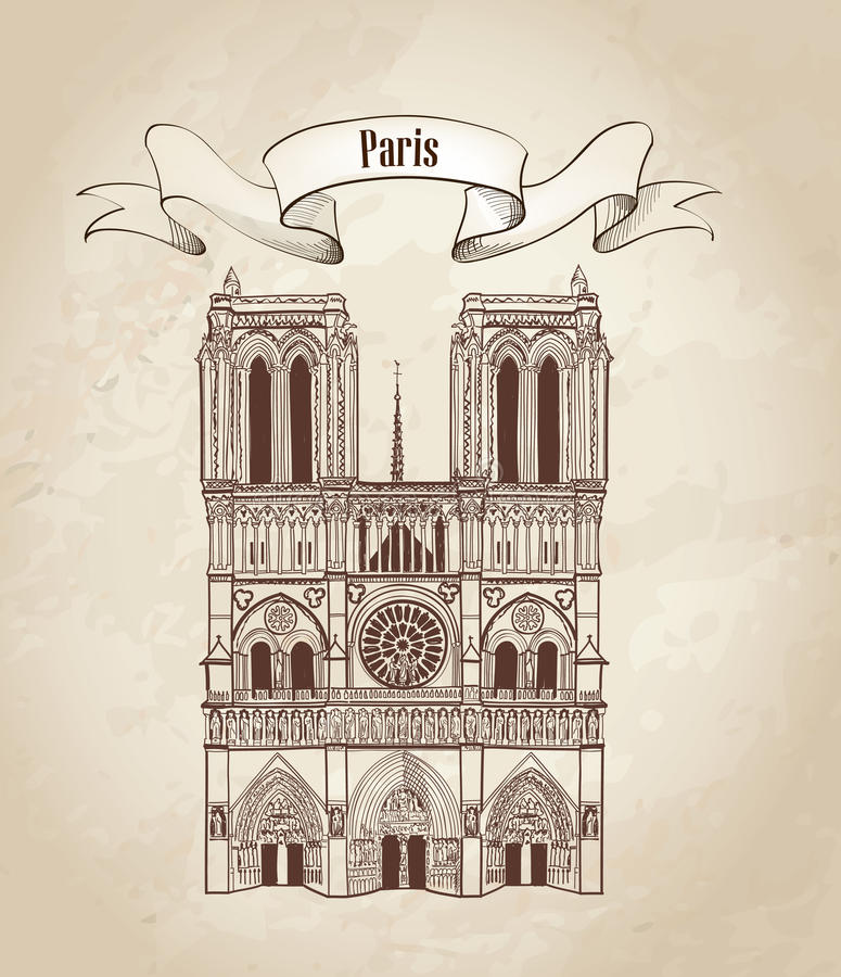 Notre Dame de Paris Cathedral. Cityscape old-fashioned background with travel label royalty free illustration