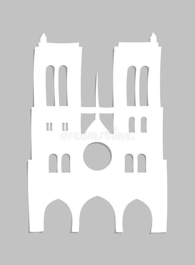 Notre Dame de Paris Cathedral cortó del papel ilustración del vector