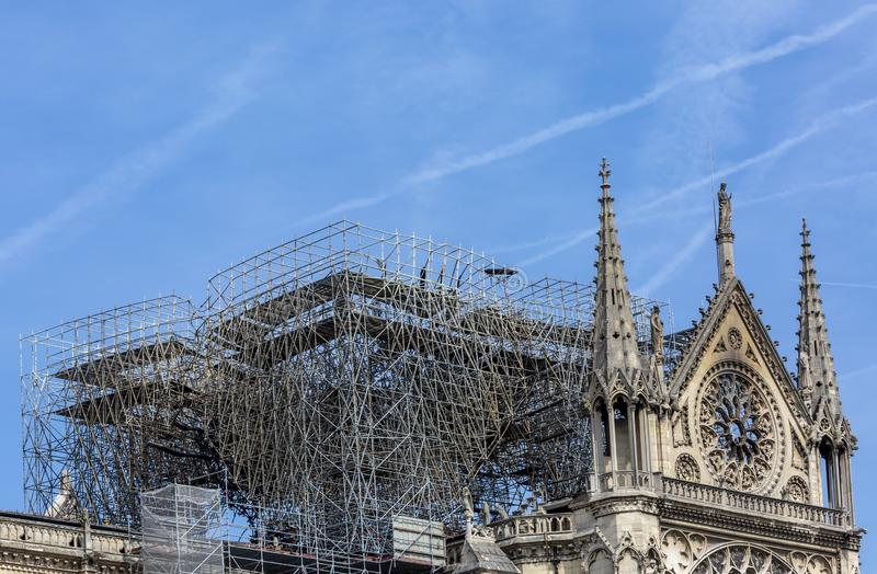 Notre Dame de Paris Cathedral After The Fire on 15 April 2019 royalty free stock images