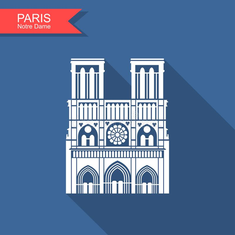 Notre Dame de Paris Cathedral, Frankrijk Het pictogram van toestellen royalty-vrije illustratie