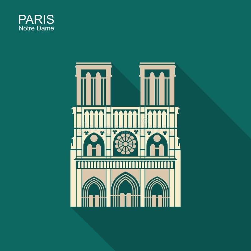 Notre Dame de Paris Cathedral, Frankrijk Het pictogram van toestellen vector illustratie