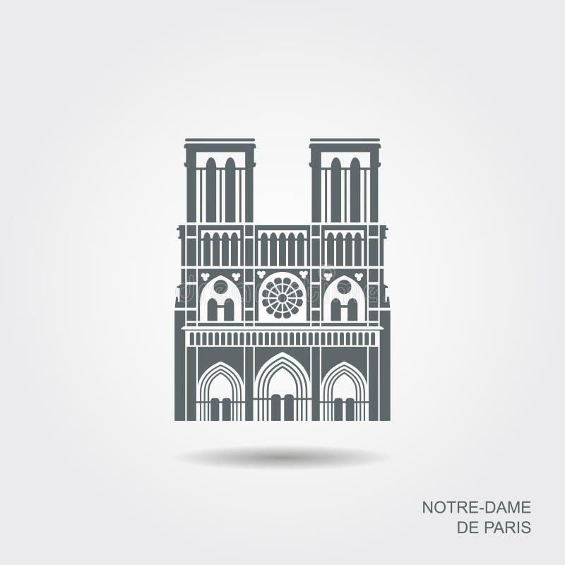 Notre Dame de Paris Cathedral, Frankrijk Vector vlak pictogram stock illustratie