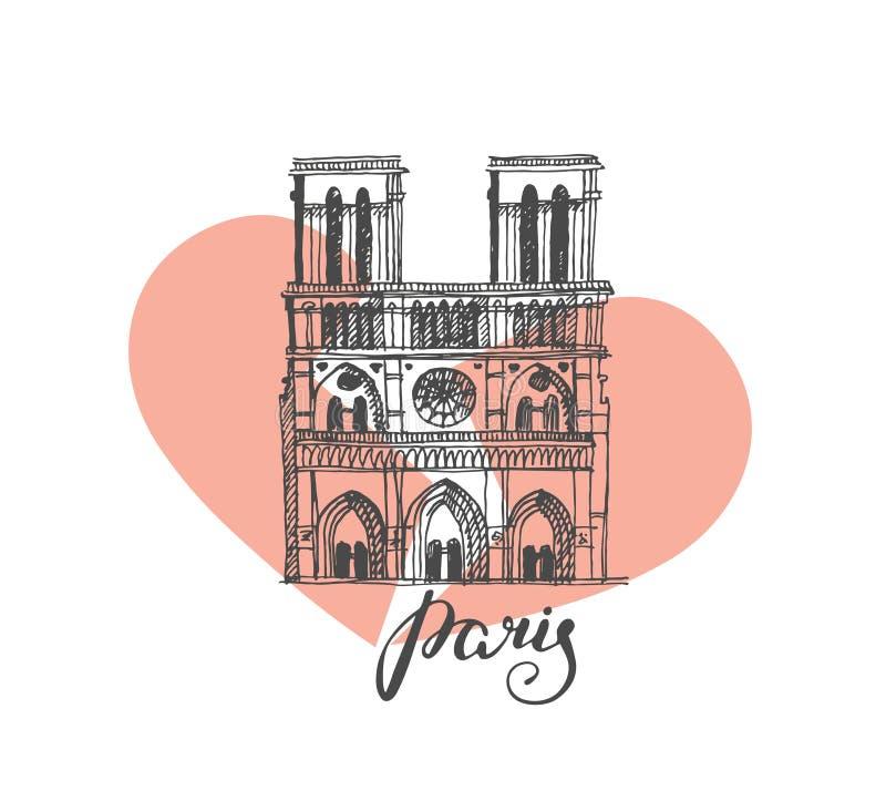 Notre Dame de Paris Cathedral, Frankrike Illustration i stilen av handteckningen royaltyfri illustrationer