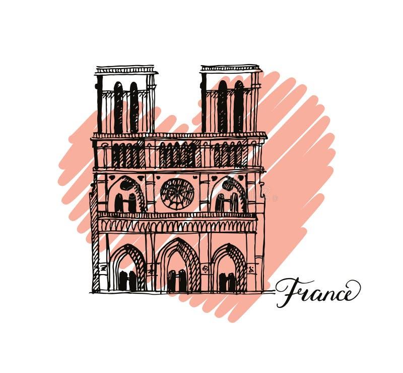 Notre Dame de Paris Cathedral, Frankrike Illustration i stilen av handteckningen stock illustrationer