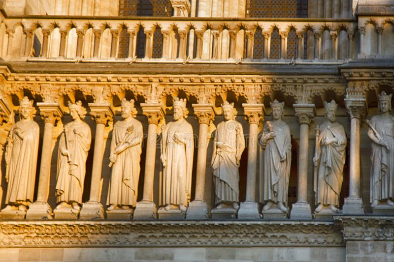 Notre Dame de Paris Cathedral Gothic style. Architectural details royalty free stock images