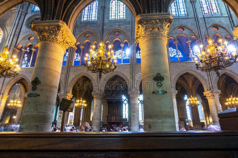 Notre-Dame de Paris Cathedral interior, France royalty free stock photos