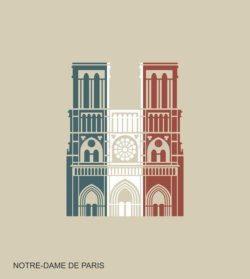 Notre Dame de Paris Cathedral in de kleuren van de Franse vlag Vector vlak pictogram vector illustratie