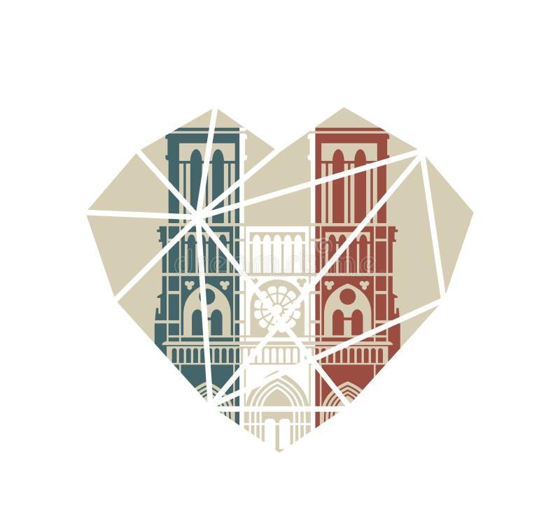 Notre Dame de Paris Cathedral in de kleuren van de Franse vlag Vector vlak pictogram in de vorm van een gebroken hart royalty-vrije illustratie