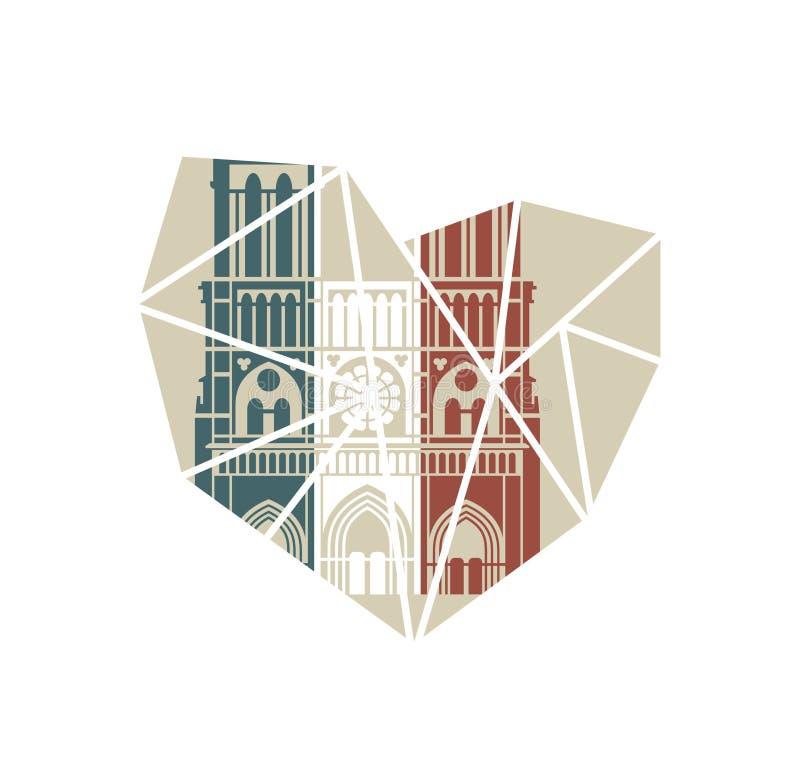 Notre Dame de Paris Cathedral in de kleuren van de Franse vlag Vector vlak pictogram in de vorm van een gebroken hart vector illustratie