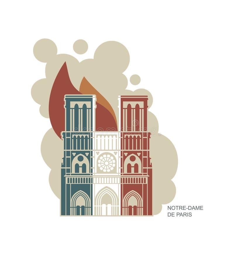 Notre Dame de Paris Cathedral in de kleuren van de Franse vlag vuurzee Vector vlak pictogram stock illustratie