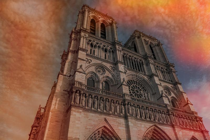 Notre Dame de Paris Cathedral, most beautiful Cathedral of France in fire royalty free stock photos