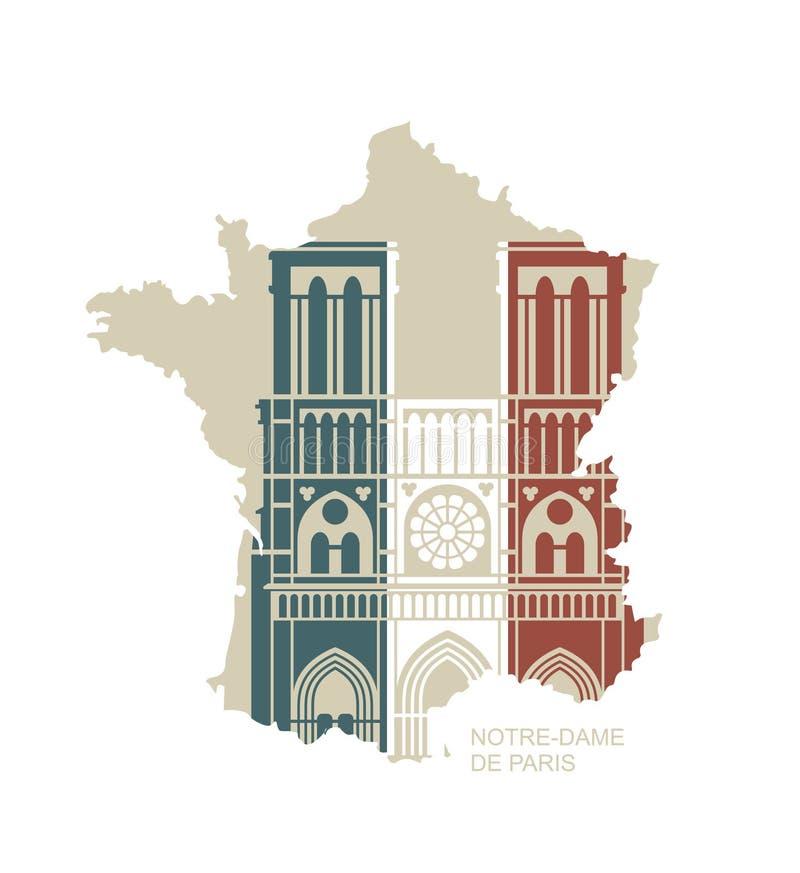 Notre Dame de Paris Cathedral nei colori della bandiera francese Icona piana di vettore sotto forma di mappa della Francia illustrazione vettoriale