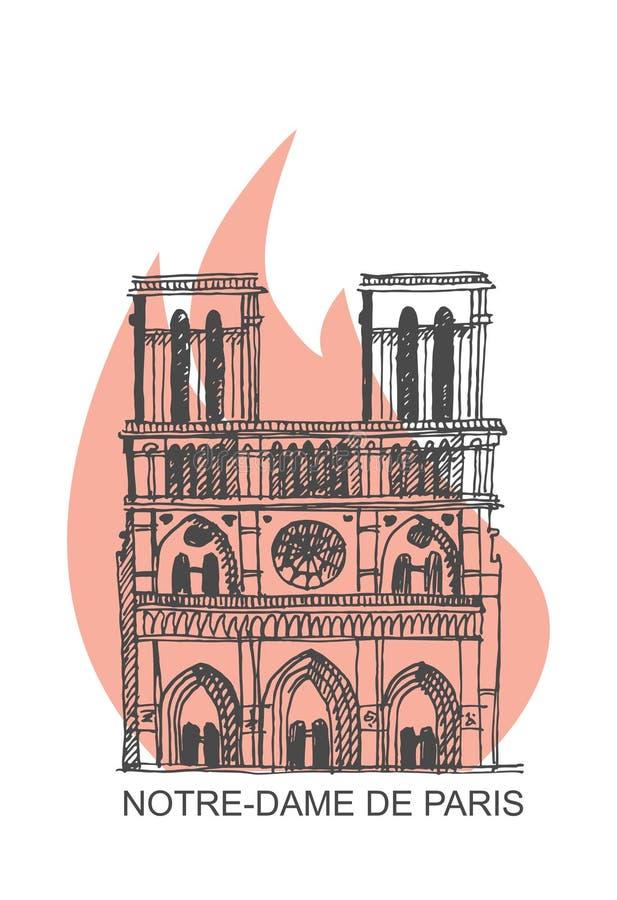 Notre Dame de Paris Cathedral op brand Illustratie in de stijl van handtekening royalty-vrije illustratie