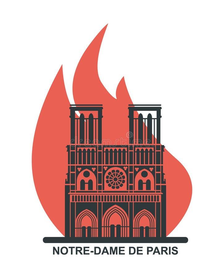 Notre Dame de Paris Cathedral op brand Vector vlak pictogram vector illustratie